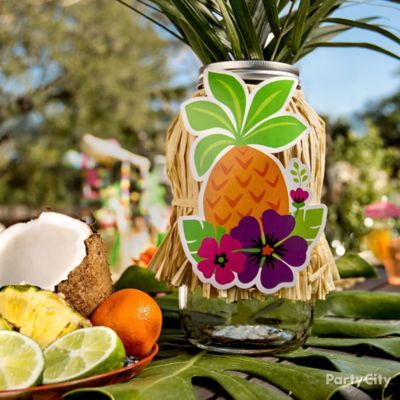 Tropical Luau Mason Jar Centerpiece Idea