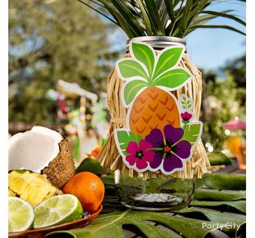 Tropical Luau Mason Jar Centerpiece Idea