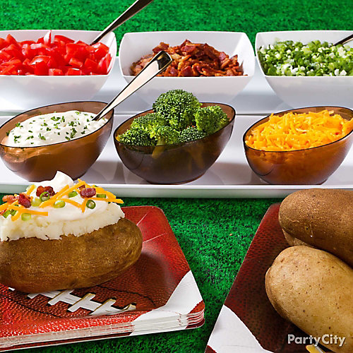 Baked potato bar idea party city for Food bar ideas for a party
