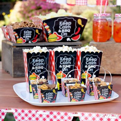 Outdoor bbq buffet table idea gingham picnic food for What to serve at a bbq birthday party