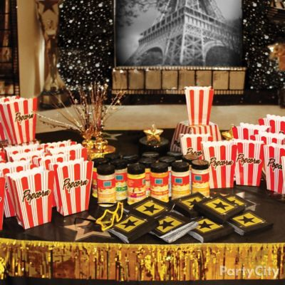 Hollywood Costume Favors Table Idea Red Carpet Hollywood