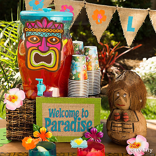 Tiki luau drink station idea party city for How to make luau decorations at home