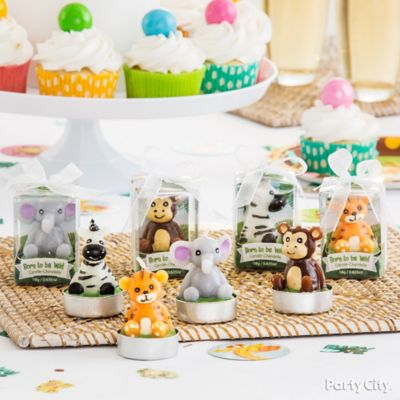 jungle animals baby shower favor idea  party city, Baby shower invitation