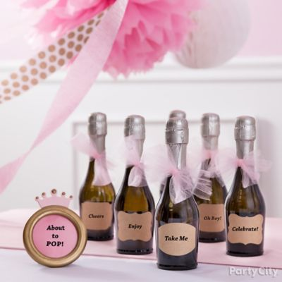 princess baby shower champagne favor idea