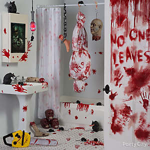 mad patient vignette idea asylum bloody bath decorating idea - Bloody Halloween Decorations
