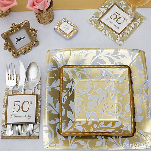 Golden Anniversary Place Setting Idea