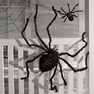 spiders on the house idea - Spider Halloween Decorations
