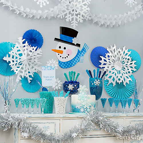 Snowflakes and Snowman Tablescape Backdrop