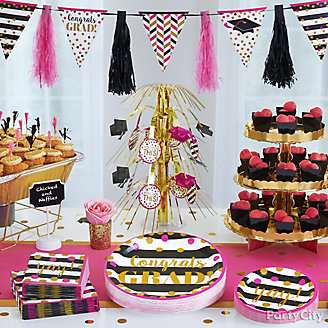 Dots and Stripes Grad Buffet Idea