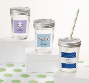 Generic Baby Personalized Baby Shower Mason Jars with Daisy Lids (Printed Label)