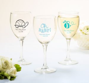 Baby Boy Personalized Baby Shower Wine Glasses (Printed Glass)