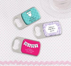 Baby Girl Personalized Baby Shower Bottle Openers - Silver (Printed Epoxy Label)