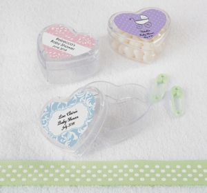 Gender Neutral Personalized Baby Shower Heart-Shaped Plastic Favor Boxes (Printed Label)
