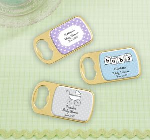 Gender Neutral Personalized Baby Shower Bottle Openers - Gold (Printed Epoxy Label)