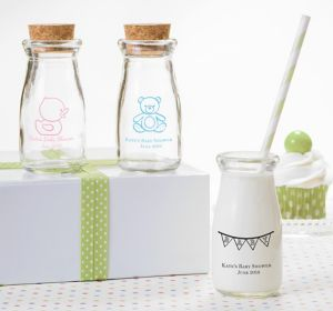 Gender Neutral Personalized Baby Shower Glass Milk Bottles (Printed Glass)