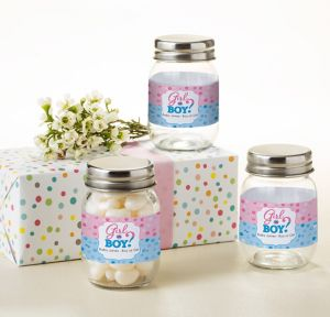 Girl or Boy Personalized Gender Reveal Mini Glass Mason Jars (Printed Label)