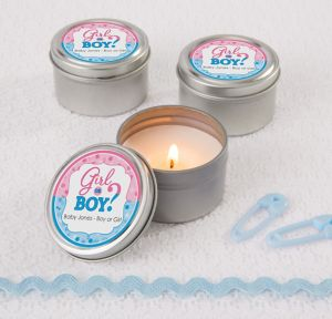 Girl or Boy Personalized Gender Reveal Candle Tins (Printed Label)