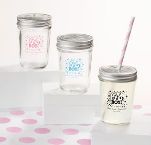 Girl or Boy Personalized Gender Reveal Mason Jars with Daisy Drink Lids (Printed Glass)