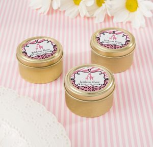 Pink Safari Personalized Baby Shower Round Candy Tins - Gold (Printed Label)