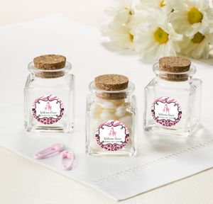 Pink Safari Personalized Baby Shower Small Glass Bottles with Corks (Printed Label)