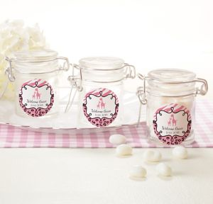 Pink Safari Personalized Baby Shower Small Glass Jars (Printed Label)