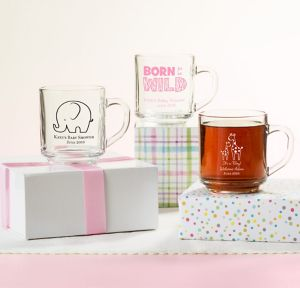 Pink Safari Personalized Baby Shower Glass Coffee Mugs (Printed Glass)