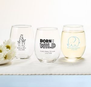 Blue Safari Personalized Baby Shower Stemless Wine Glasses 15oz (Printed Glass)