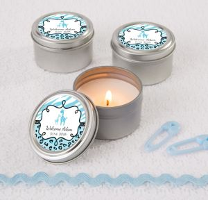 Blue Safari Personalized Baby Shower Candle Tins (Printed Label)