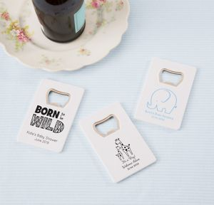 Blue Safari Personalized Baby Shower Credit Card Bottle Openers - White (Printed Plastic)