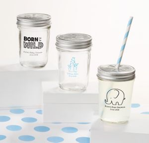 Blue Safari Personalized Baby Shower Mason Jars with Daisy Drink Lids (Printed Glass)