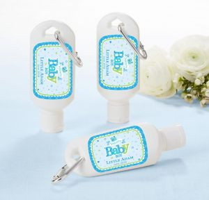 Welcome Baby Boy Personalized Baby Shower Sunscreen Favors (Printed Label)