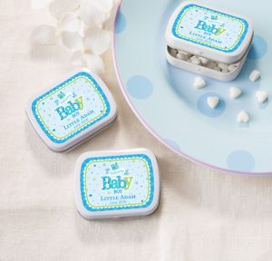 Welcome Baby Boy Personalized Baby Shower Mint Tins with Candy (Printed Label)
