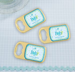 Welcome Baby Boy Personalized Baby Shower Bottle Openers - Gold (Printed Epoxy Label)