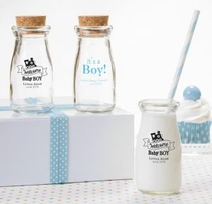 Welcome Baby Boy Personalized Baby Shower Glass Milk Bottles (Printed Glass)