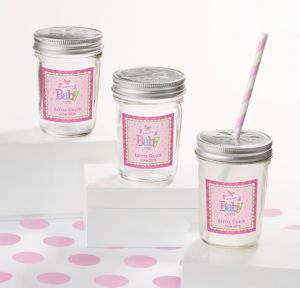 Personalized Clear Mason Jars, Daisy Lid, 12ct