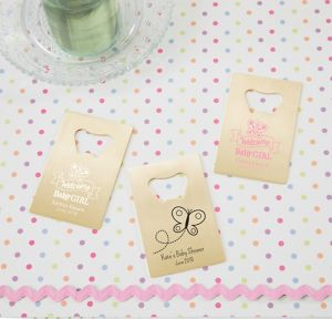 Welcome Baby Girl Personalized Baby Shower Credit Card Bottle Openers - Gold (Printed Metal)