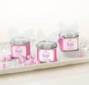Welcome Baby Girl Personalized Baby Shower Favor Tins with Bows (Printed Label)