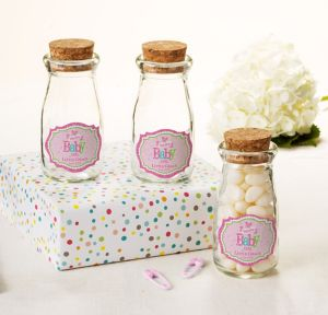 Welcome Baby Girl Personalized Baby Shower Glass Milk Bottles with Corks (Printed Label)