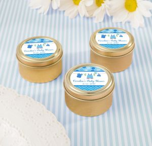 It's a Boy Personalized Baby Shower Round Candy Tins - Gold (Printed Label)