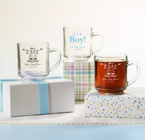 It's a Boy Personalized Baby Shower Glass Coffee Mugs (Printed Glass)