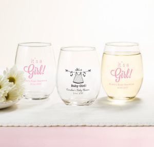 It's a Girl Personalized Baby Shower Stemless Wine Glasses 15oz (Printed Glass)