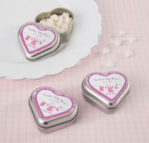 It's a Girl Personalized Baby Shower Heart-Shaped Mint Tins with Candy (Printed Label)