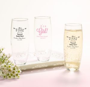 It's a Girl Personalized Baby Shower Stemless Champagne Flutes (Printed Glass)