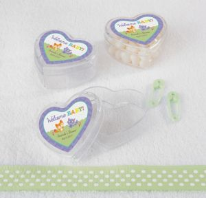 Woodland Personalized Baby Shower Heart-Shaped Plastic Favor Boxes (Printed Label)