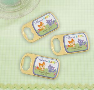 Woodland Personalized Baby Shower Bottle Openers - Gold (Printed Epoxy Label)