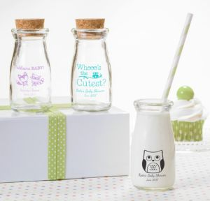Woodland Personalized Baby Shower Glass Milk Bottles (Printed Glass)