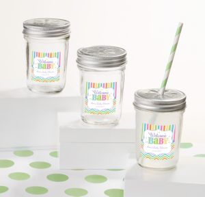 Bright Chevron Personalized Baby Shower Mason Jars with Daisy Lids (Printed Label)