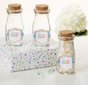 Bright Chevron Personalized Baby Shower Glass Milk Bottles with Corks (Printed Label)