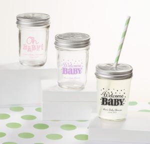 Bright Chevron Personalized Baby Shower Mason Jars with Daisy Drink Lids (Printed Glass)