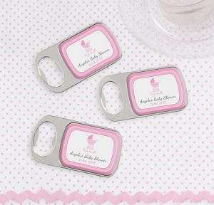Pink Stroller Personalized Baby Shower Bottle Openers - Silver (Printed Epoxy Label)